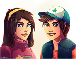 Mabel and Dipper by SinteArkras