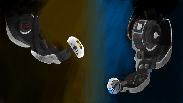 GLaDOS and Wheatley by lord125