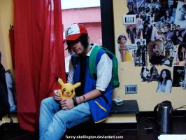 Ash Ketchum in his room by Kawaiiidream