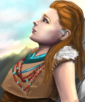 Aloy Relaxing. Sketch by SmallTitan