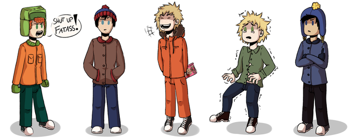South Park Crew [Kyle, Stan, Kenny, Tweek, Craig] by yumiomiru