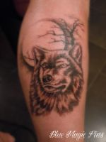 Wolf on the moon tattoo by ravenwarlock