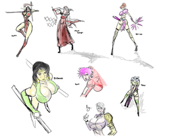 Potpourri of Fighting Game Gals, Inkings by satoopid
