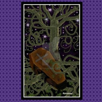 lame coffin and tree pic I did on paint by DarkZoneRomana