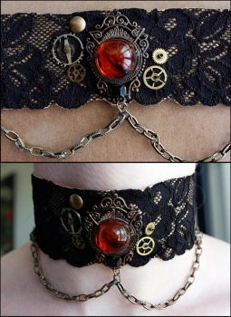 Steampunk choker by Catarios