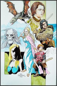 Game of Thrones - Daenerys Targaryen, Jon Snow by karlcomendador