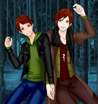 Charlie and Bill Weasley by UberxMoMo