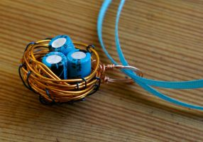Blue Orange Wire Bird's Nest by SleeplessStoryteller