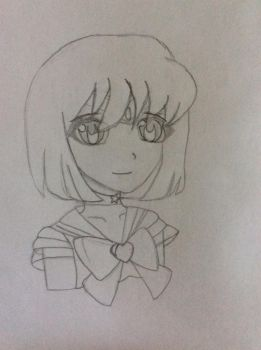 Sailor Saturn Pencil Drawing by BluePandasAreAwesome