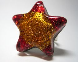 Red + Gold Star Ring by ExperienceDesigns