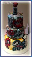 Spiderman and Traditional Split Wedding Cake! by gertygetsgangster