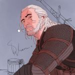 Geralt in a tavern by mstrychowska