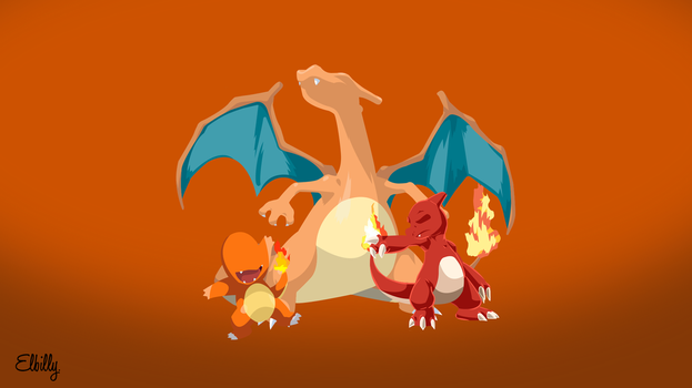 Fire Pokemon starters Minimalist by elbillyy