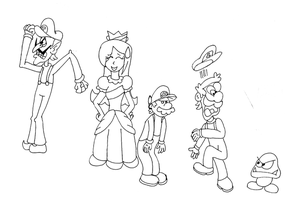 Princess Sam and 3 plumbers by ZeFrenchM