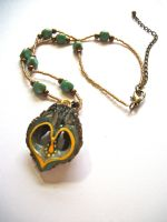 Green and Gold Walnut Necklace by LizPotterArt