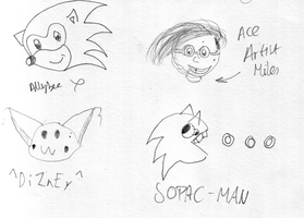 Sonic, Pikachu and SOPAC-MAN by soncomsketchbook
