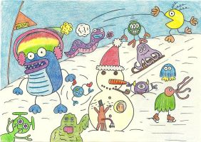 Monsters can do wintersports too by Aude-la-randonneuse