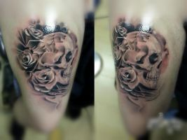 Skull and Roses Tattoo finished! by LittleRock3DD