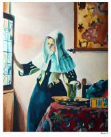 Young Woman with a Water Pitcher(Retinal Painting) by PDJ004