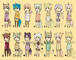 Adoptables-Angel/Demon/Kemonomimi Set 2 - CLOSED by Chi-Adopts-Yo