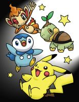 Pikachu, Turtwig, Chimchar, and Piplup Color Page by MihaelLawliet
