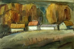 Autumn in the village by AmsterdamArtGallery