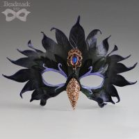 Jeweled Leather Raven Mask by Beadmask