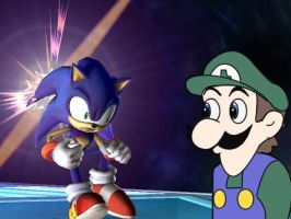 Sonic and Weegee by MewgletheWolf