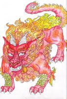 Great Foo Dog Color WIP by Caylyngasm