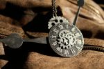 Black Clock Steampunk Necklace by medievalfaery