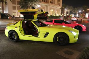 Fluorescent Yellow Mercedes SLS by ramyk