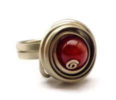 Wire Wrap Spiral Ring with Red Carnelian stone by hyppiechic
