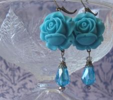 Blue bloomin' Blossom Rose Earrings by LKJSlain