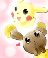 Pikachu and Buneary by yellowhima