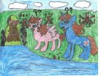 Havoc And Jellybean In The Forest With A Moss Cove by DEVIOUS-DISCORD-RP