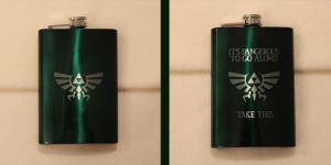 Hylian Crest green flask by Yukizeal
