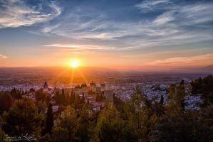 Sunset Over Granada - Spain by Eloren