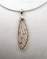 Silver Fused Glass Dragonfly Wing Necklace Pendant by FusedElegance