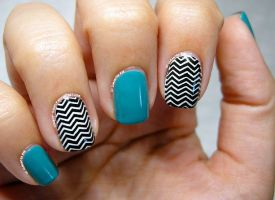 Teal and B+W Zig Zag by Cowboy-Slightly