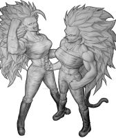SSJ3 Kyuuri and Serori commission by TicoDrawing