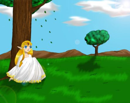Zelda sitting by a tree by TheHeroine
