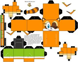 Marine the Raccoon papercraft (brown eyes) by CoralCalypso