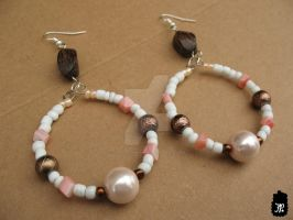 Pink Pearl Beaded Earrings by TheFuzzyPineapple