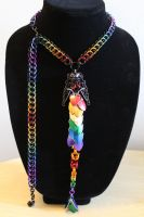 Rainbow Dragon and Necklace Set by SerenFey