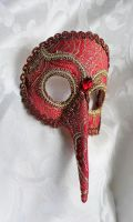 Red Brocade Bird Mask by DaraGallery