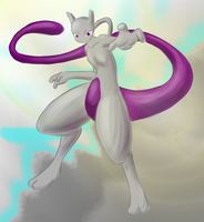 Paintbrush Mewtwo by livinlovindude