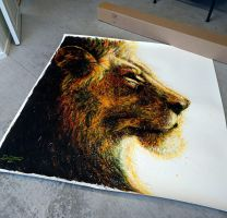 Shipping out this large lion painting by AtomiccircuS