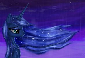 Princess Luna in calm solitude by Scutterjunk
