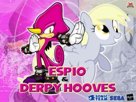 Wallpaper Espio the Charmeleon and Derpy Hooves by LightDegel