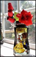 Beauty and the Beast Painted Vase by Bonniemarie